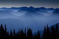 blue, Cascades, Mount Rainier National Park, silhouette, Washington