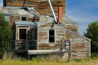 abandoned, grain elevator, Highway 2, eastern Montana, Jonathan Raban
