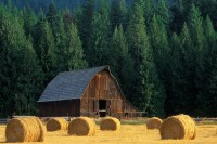 Highway 200, Montana, hay bales, barn