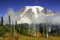 Mount Rainier National Park, Washington, Snow Lake, autumn, fog