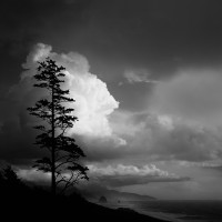 cumulus, cloud, Ecola State Park, Cannon Beach, Oregon, black-and-white, Haystack Rock, square