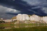 Missouri River, Montana, white cliffs, storm clouds