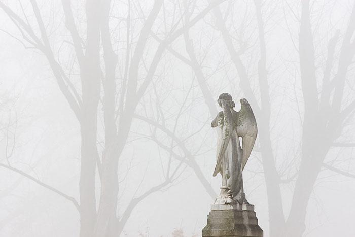 Blue Mountain, cemetery, Walla Walla, winter, fog, angel, tombstone, quiet