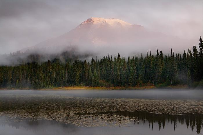 Reflection Lake, Mount Rainier National Park, Washington, autumn, fog, sunrise