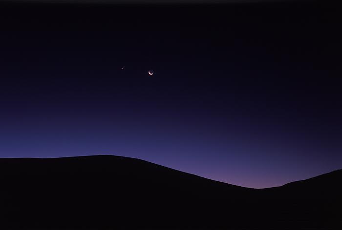 Leslie Gulch, Oregon, crescent moon, sunrise