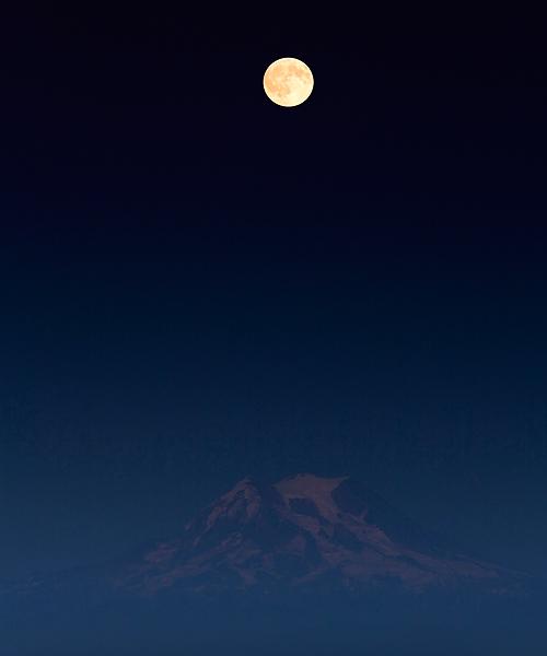 moonrise, full moon, Mount Rainier National Park