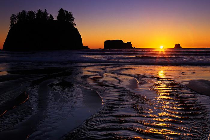 Second Beach, Olympic National Park, sunset, stream, Washington Coast