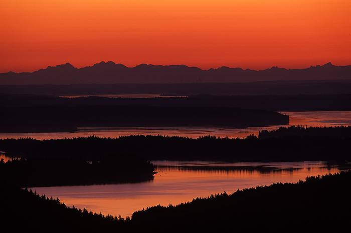 Puget Sound, Olympia, Capitol Forest, sunrise, Washington, mountains, marine waters, islands